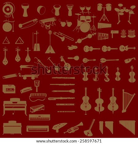 different music instruments in dark red background - stock vector