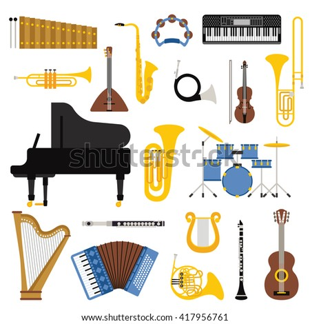 Different music instruments vector and music instruments. Music instruments musical guitar violin and sound classical music instruments concert trumpet instrument. Music instruments collection. - stock vector