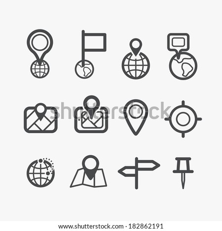 Different navigation icons set with rounded corners. Design elements - stock vector