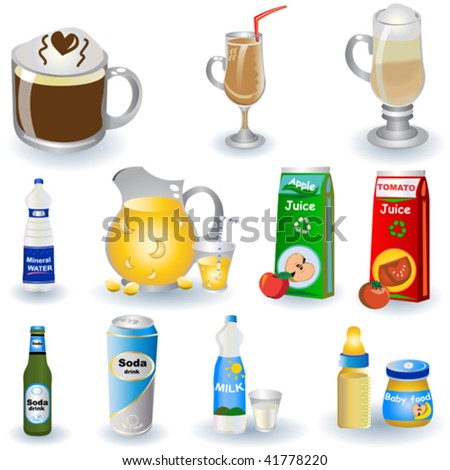Different non-alcoholic beverages isolated on white background. - stock vector