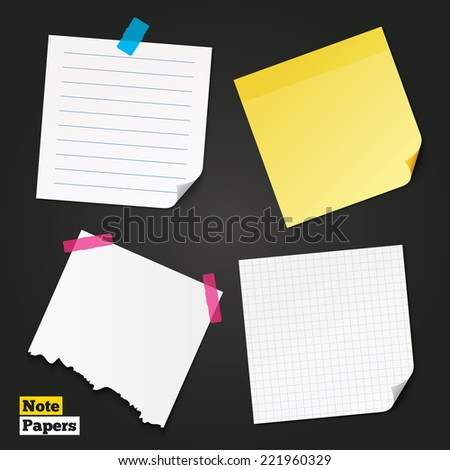 Different note papers and stickers. Writing grid square lined pad. Piece of paper with lines. Scotch taped torn page. Vector - stock vector