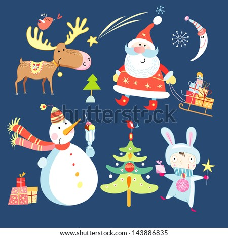 different objects to the new year on a dark blue background - stock vector