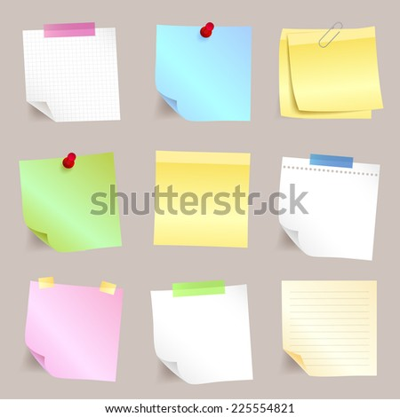 Different paper note set - stock vector