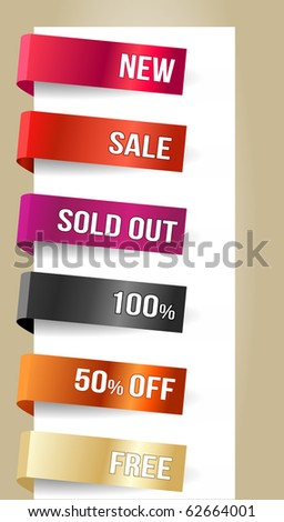 Different paper tags - Vector announcements - stock vector