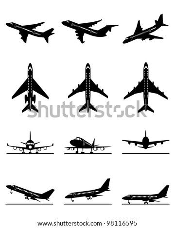 Different passenger aircraft in flight - vector illustration