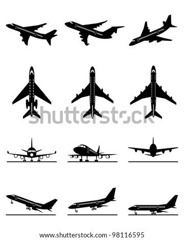 Different passenger aircraft in flight - vector illustration - stock vector