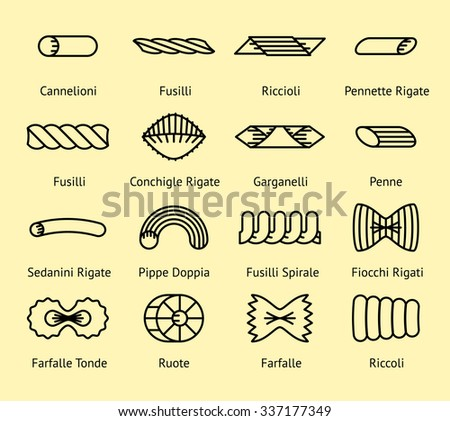 Different pasta types line icons set. Macaroni spirale, pippe and doppia, fiocchi and spaghetti, vector illustration - stock vector