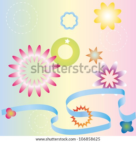Different pastel ribbons, stars and flowers. - stock vector