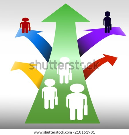 Different paths representing business choices.Think different concept, - stock vector