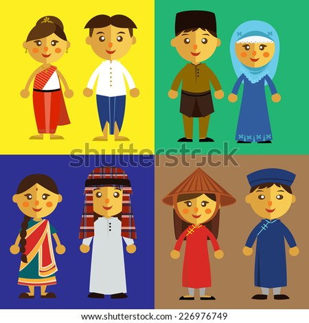 Malaysian People Clipart Different people from