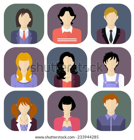 Different people icons set in flat style. Vector Illustration  - stock vector