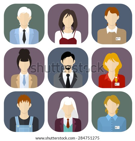 Different people icons set in flat style. Vector Illustration