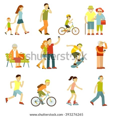Different people in outdoors physical activity. People on the street in different activity situation - walking, cycling, running, recreation in flat style isolated on white background - stock vector