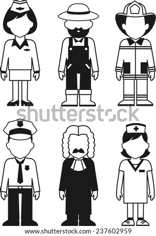 Different people occupation characters set in thin line style - stock vector