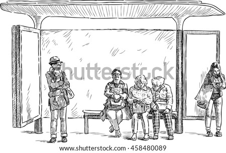 different people on a bus stop