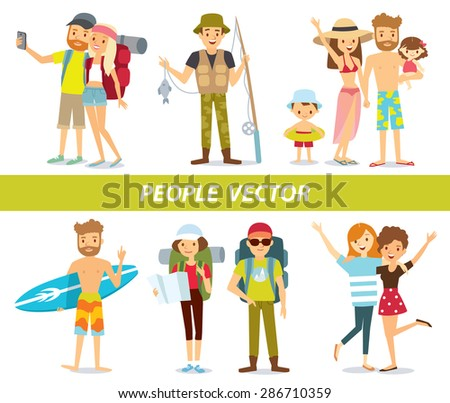 different people on vacation - stock vector