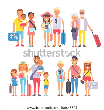 Different people on vacation and vacation people traveling. Vacation people happy family travel together. Traveling family group people on vacation together character flat vector family. - stock vector