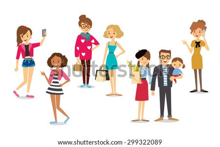 different people's characters - stock vector
