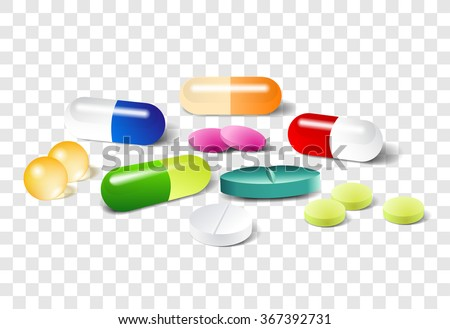 Different pills on a transparent background. Vector set