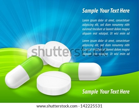 Different pills, tablet and capsule with text on medical poster, vector illustration. - stock vector