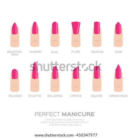 Different Pink Nail Shapes Icons Woman Fingers Fingernails Fashion Trends Vector Design Illustration