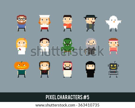 Different pixel art characters: cook, waiter, ghost, bride and groom, orc, old mage, arabian guy, robot