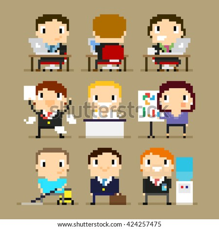 Different pixel art office characters, 8-bit characters, office character at his desk working on laptop, happy man with paper agreement, woman showing the presentation and other office characters