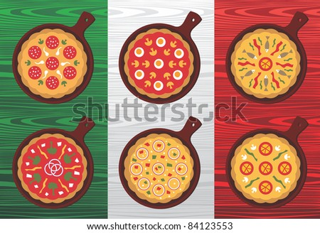 Different Pizza flavors over wooden textured Italian flag background. Vector available. - stock vector