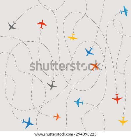 Different plane ways abstract scheme. Seamless vector pattern  - stock vector