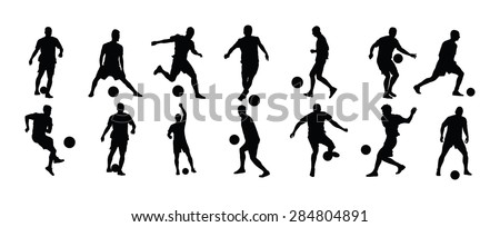 different poses of soccer players vector silhouette illustration isolated on white background football players silhouette