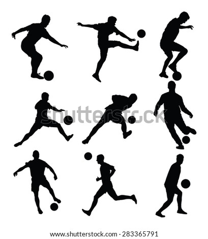 Different poses of soccer players vector silhouette isolated on white background. Football  players.