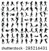 Different poses of soccer players vector silhouette isolated on white background. Very high quality detailed soccer football editable players cutout outlines.