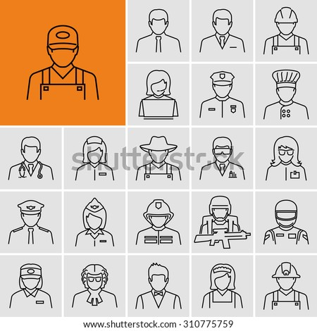 Different professions avatars outline vector icons  - stock vector