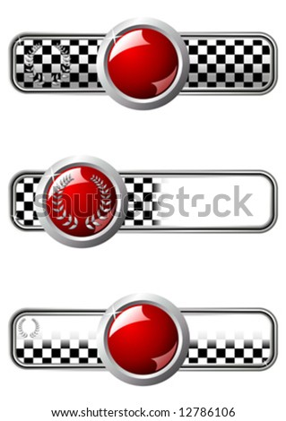 Different race badges with red round gem over white background - stock vector