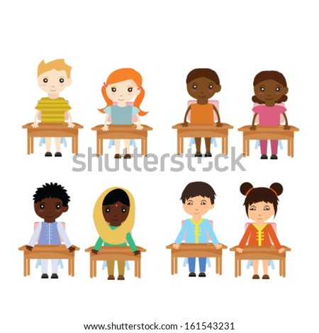 Different race kids in classroom - stock vector
