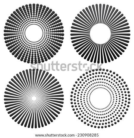 Different radial, concentric elements - stock vector