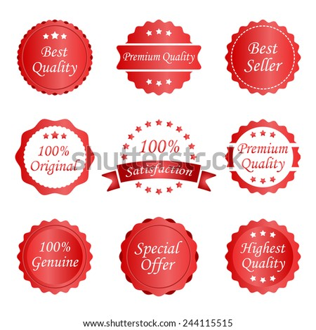 different red labels  - stock vector