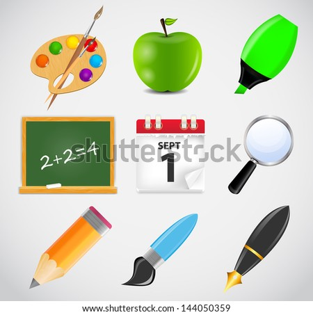 Different school icon vector illustration set1 - stock vector