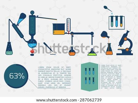 Different scientific labs tubes. - stock vector