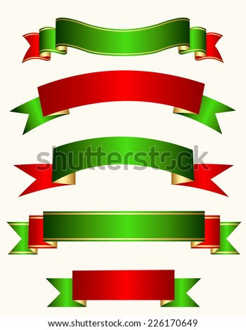 Different shaped ribbon banner collection in red, green and gold mix isolated on white background specially for christmas designs - stock vector