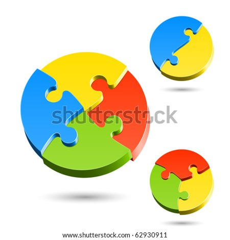 Different shapes of jigsaw puzzle. Vector. - stock vector