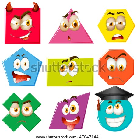 Different shapes with facial expressions illustration