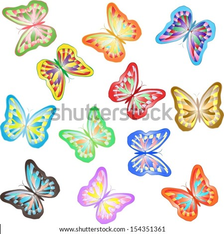 Different shiny colourful butterflies isolated on white