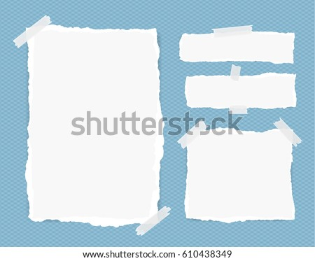Different size white note, notebook, copybook sheets, strips stuck with sticky tape on squared blue background