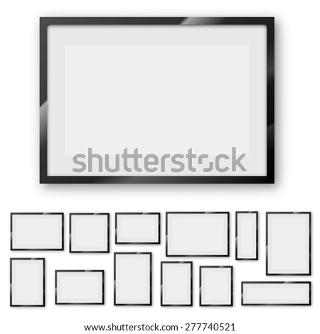 Different sizes and A4, B4, C4 proportion  blank frames on a white background with thick borders. Vector Illustration set