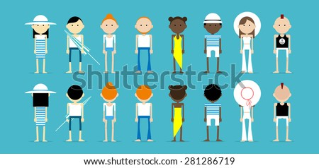 Different skin types of people standing on the blue background, wearing summer outfits. Group of Caucasian, Asian and Afro american people viewed from the front and back. - stock vector