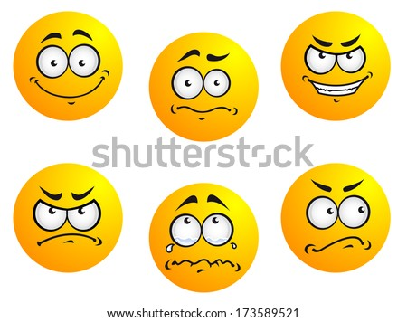 Different smiles expressions and moods for emoticons design - stock vector