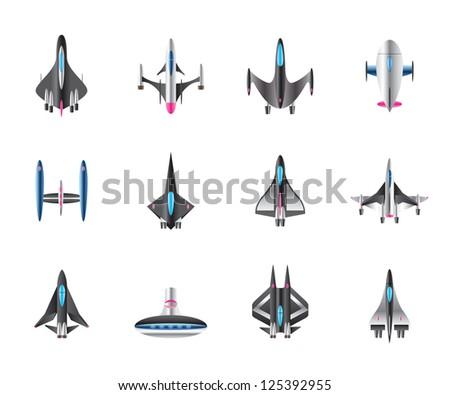 Different spaceships in flight - vector illustration - stock vector