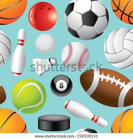Different sport balls seamless background vector illustration