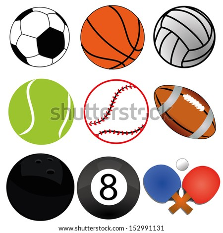 different sports ball on white background - stock vector